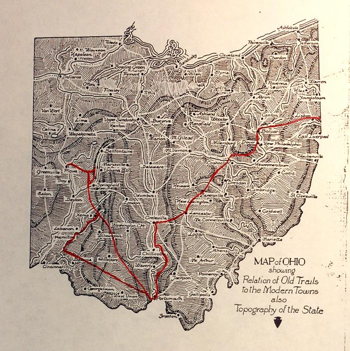 Indian Trails followed by Gist in Ohio on his first trip in 1750-51 are marked in red.