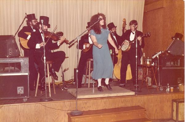 July 12, 1985 <br>The North Fork Rounders perform at the wedding of Harron Miller & Vicky Egan.<br>   Christina Powers is dancing.
